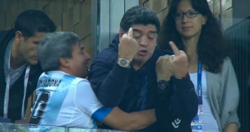 FINGERS OF GOD: Maradona gives finger as Argentina hit late winner against Nigeria