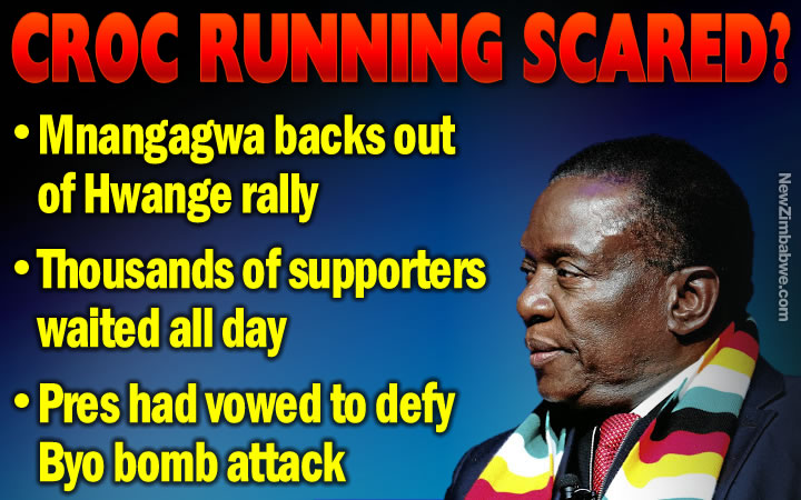 SECURITY SCARE? Mnangagwa backs out of Hwange rally; stadium packed with waiting supporters