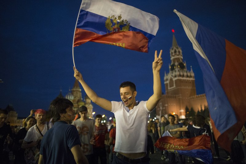 Ecstatic Russians pour onto the streets after World Cup win