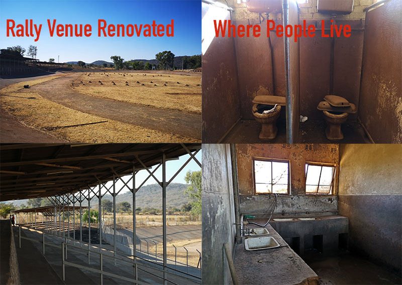 PICTURES: Decrepit stadium gets extensive make-over for Mnangagwa rally; nearby people live in shocking squalor