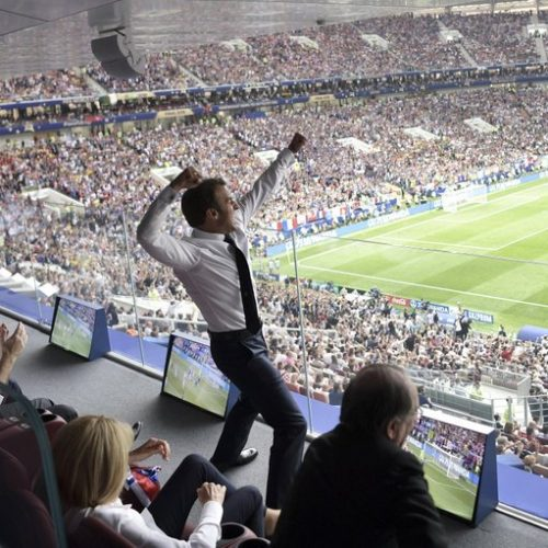 World Cup: President Macron cheers from the stands — then 'dabs' in the changing room