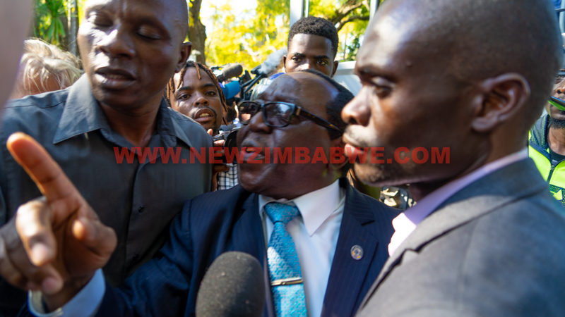WATCH: Chaos as minister Khaya Moyo orders riot cops to leave Chamisa press conference