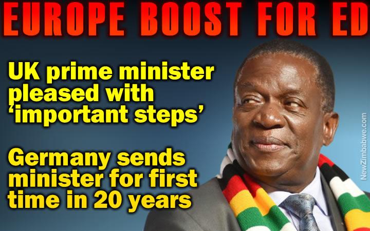UK boost for Mnangagwa; prime minister Theresa May says ED making important steps