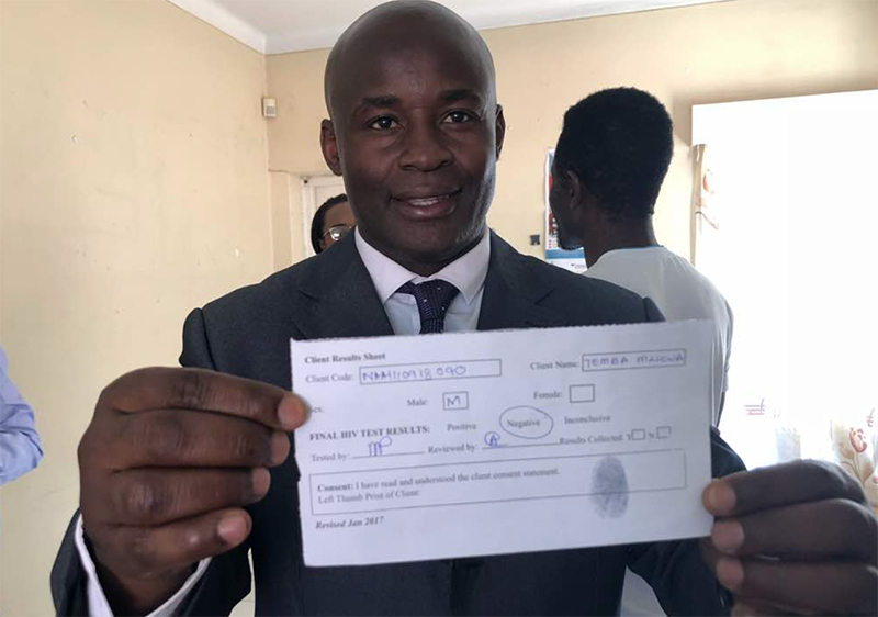 Norton MP Temba Mliswa takes public HIV test, says he moves around with test kit