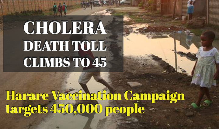 Zim's cholera death toll climbs to 45, says UN health agency