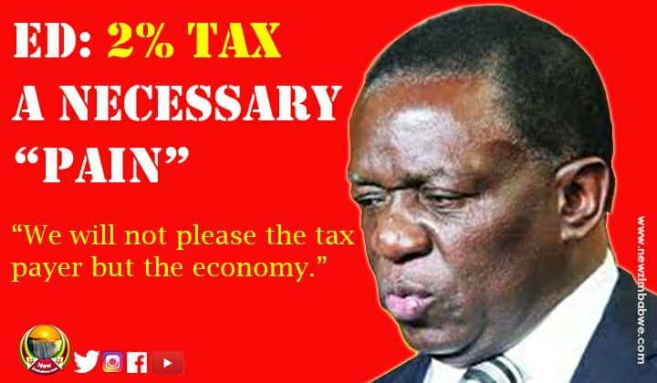 Mnangagwa defends government's 2% tax on electronic transfers