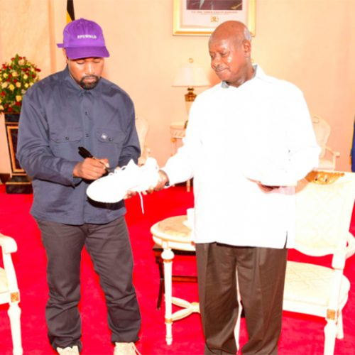 PICTURES: Kanye West meets Uganda's president, gifts pair of sneakers
