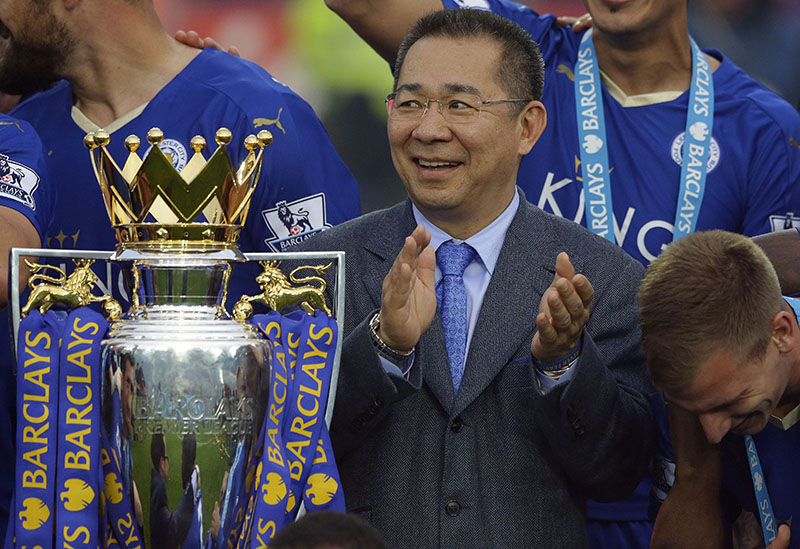 Leicester City's billionaire owner on board helicopter which crashed and burst into flames