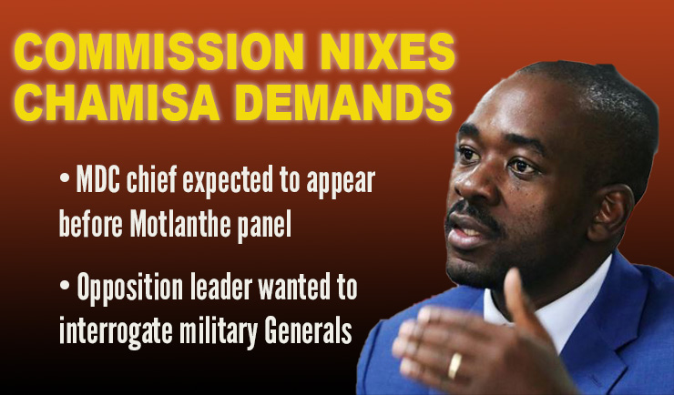 HARARE Killings: Commission rejects Chamisa's demands; MDC leader wanted to interrogate military generals