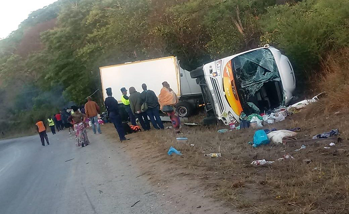 Scores escape with their lives as cross border bus overturns