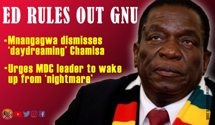 Mnangagwa: No GNU; 'Daydreaming' Chamisa needs to wake up from his 'nightmare'