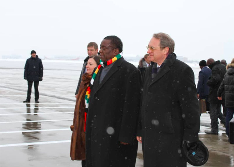 Mnangagwa arrives in Russia as protests rock Zimbabwe