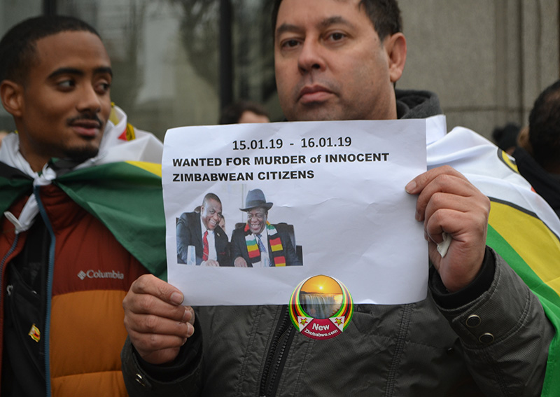 PICTURES: Zim exiles brave bitter London cold to protest crackdown back home