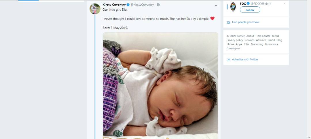 Kirsty Coventry Reveals Her Newly Born Baby Ella