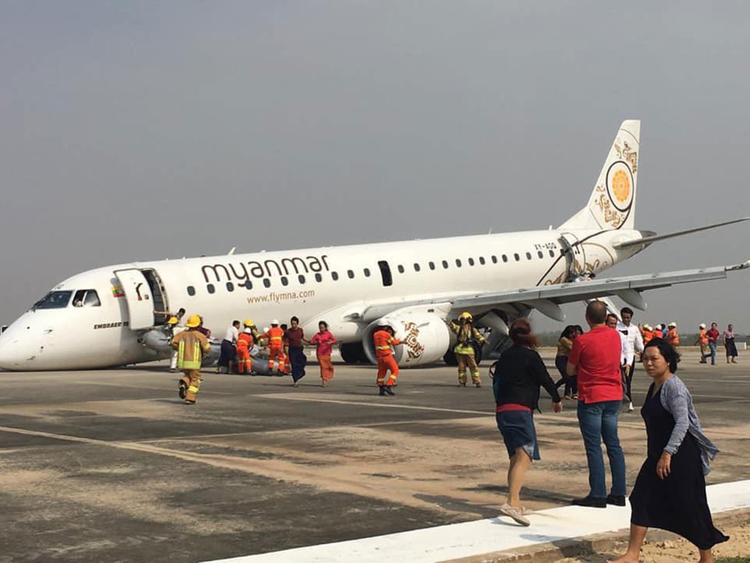 Myanmar: 89 cheat death as plane lands with no front wheels
