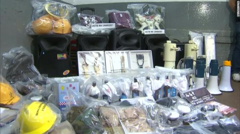 Hong Kong police seize explosives on eve of protests