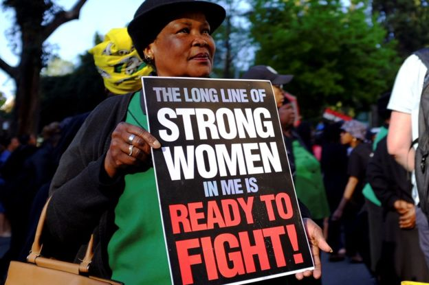South Africa sexual violence protesters target stock exchange