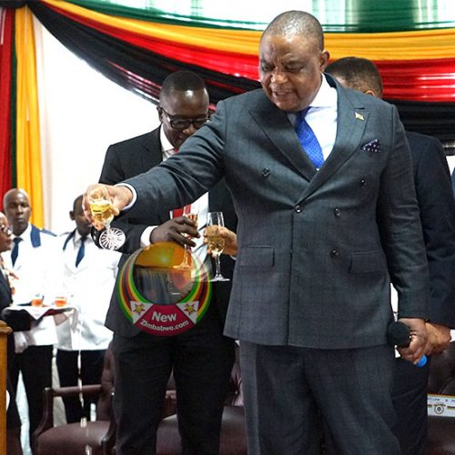 WATCH: VP Chiwenga proposes toast, empties champagne glass onto the floor