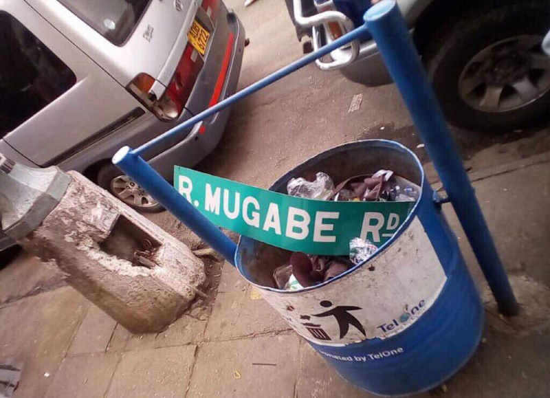 Cheeky Kwekwe Council Worker Takes Down Mugabe Road Sign, Replaces With ED Name