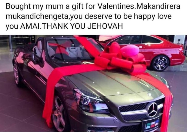 Bona surprises mom Grace with band new Merc as Valentine's gift