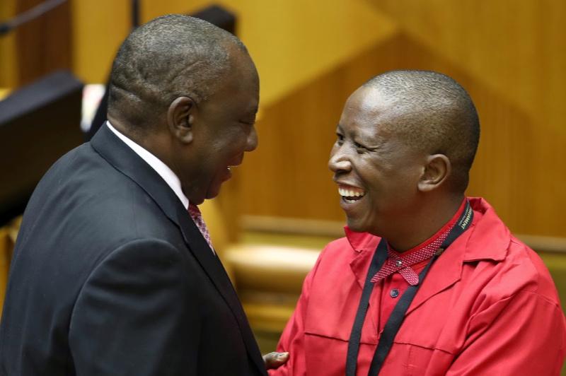 WATCH: Ramaphosa, Malema avoid handshake during joint coronavirus briefing
