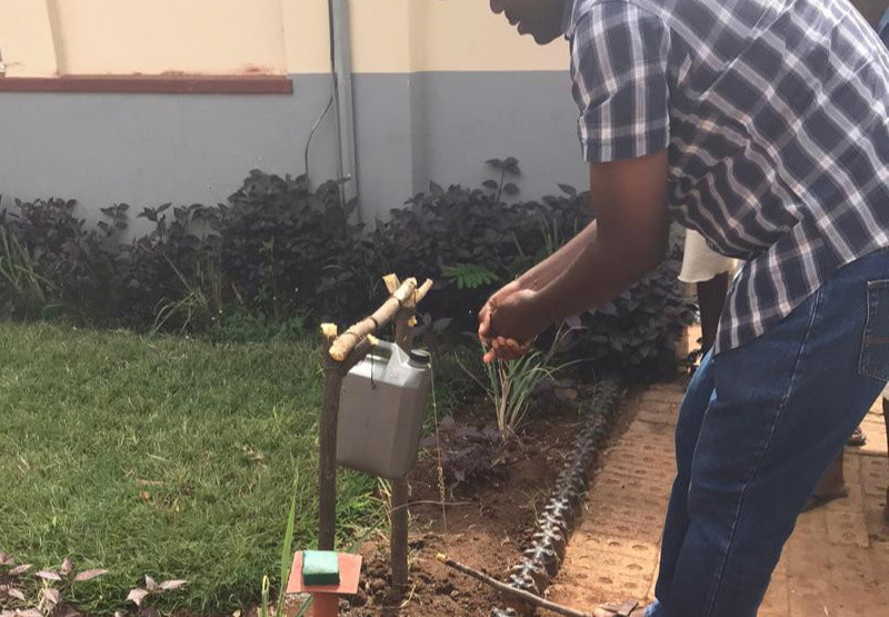 Home-Made Sanitiser Machine A Hit Among Vic Falls Residents