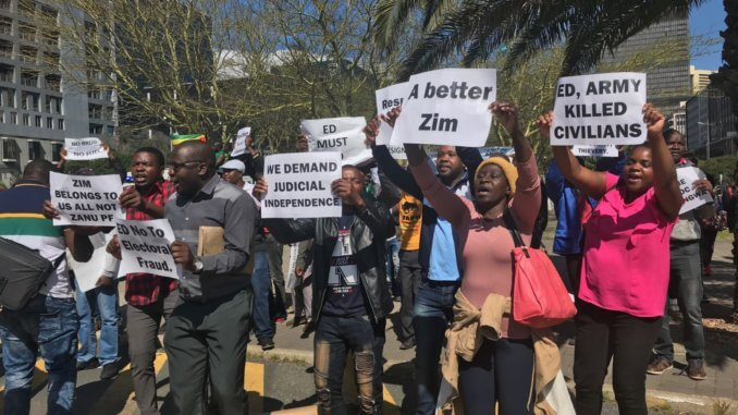 Zimbabweans in Cape Town join solidarity protest before being dispersed by police