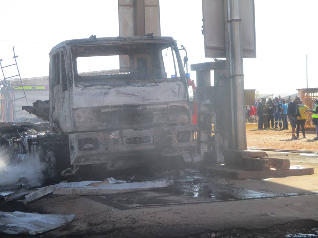 WATCH: Fire guts Ruwa service station, reduces tanker to shell