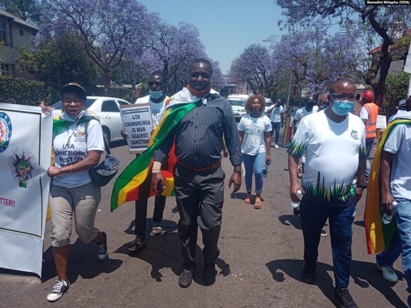 IN PICTURES: SA-Based Zimbabweans Stage Anti-Sanctions Protest Outside US Embassy