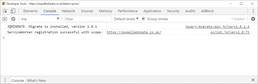 Google Chrome console.log showing the installation of service worker