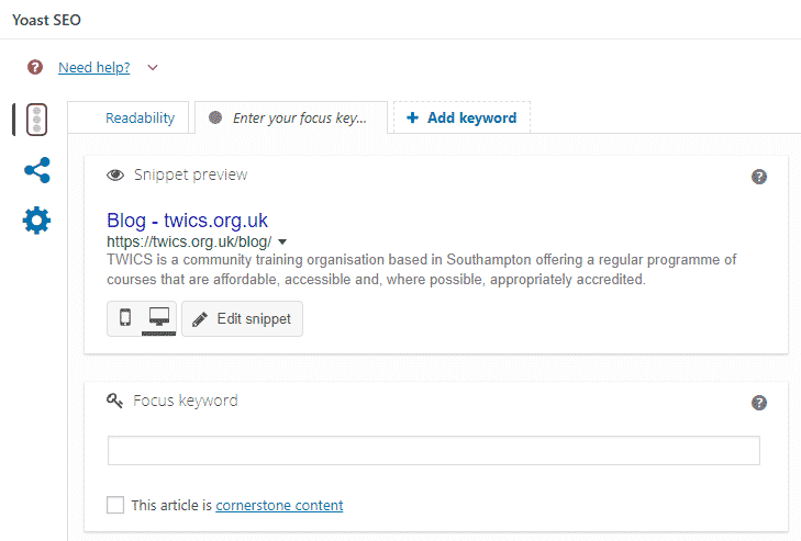 A screenshot of Yoast SEO configuration for a post in WordPress