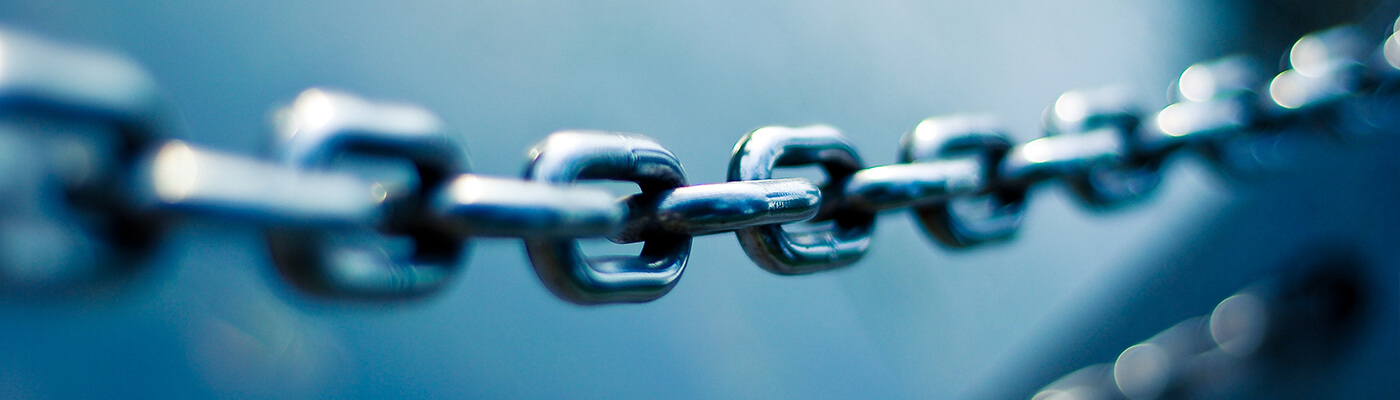 Photograph of a boat chain to represent a link