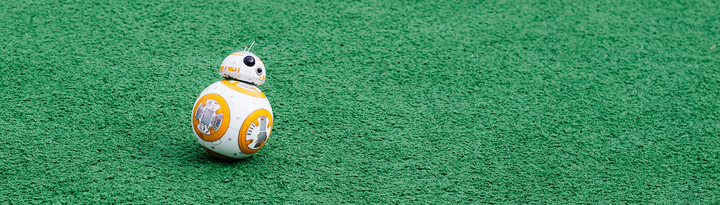 Photograph of a star wars character robot on green grass