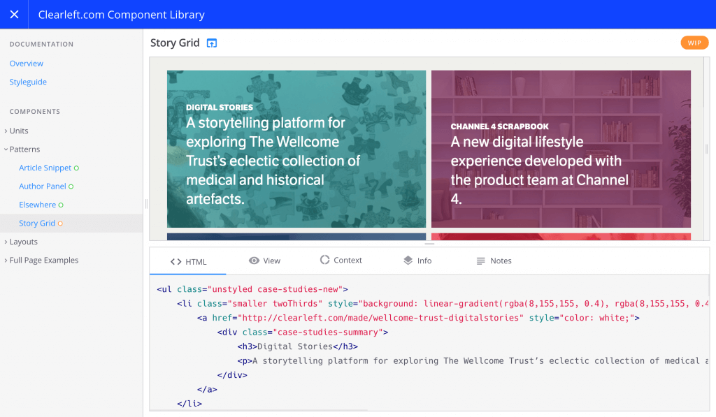 Screenshot of the fractal pattern library showcased on their homepage for documentation