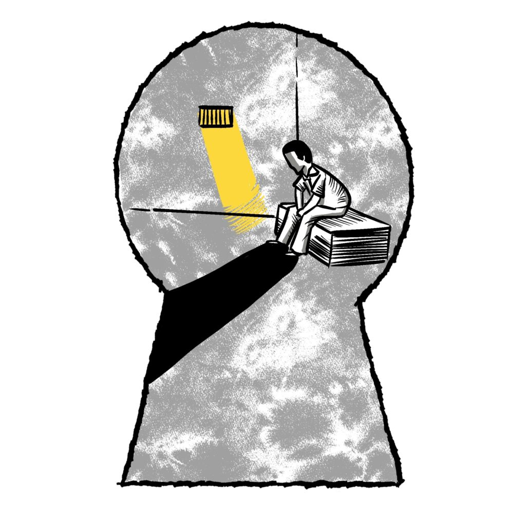 illustration of person sitting in a cell through a key hole
