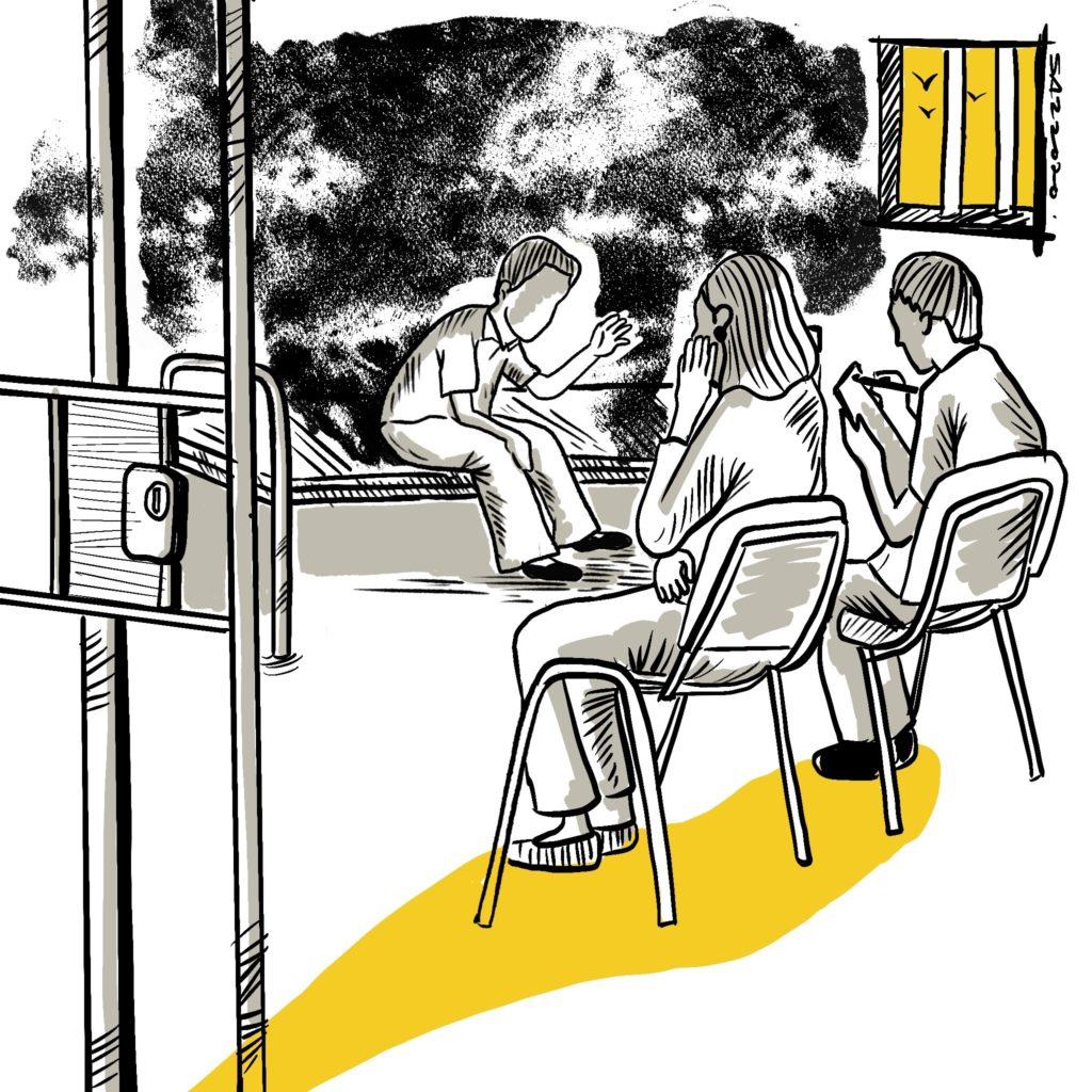 illustration of custody visitors interviewing detainee