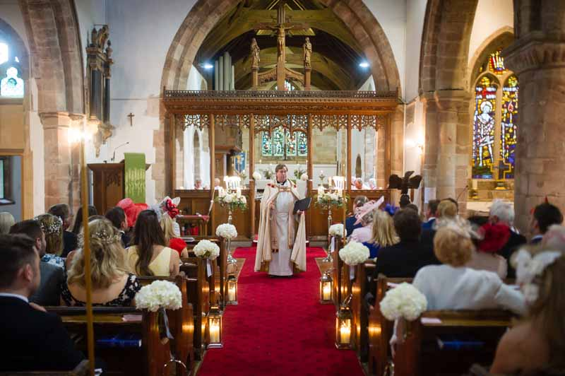 Church Flowers white hydrangea pew ends silver lanterns to aisle Hampton in Arden Church Wedding Flowers Passion for Flowers (2) (1)