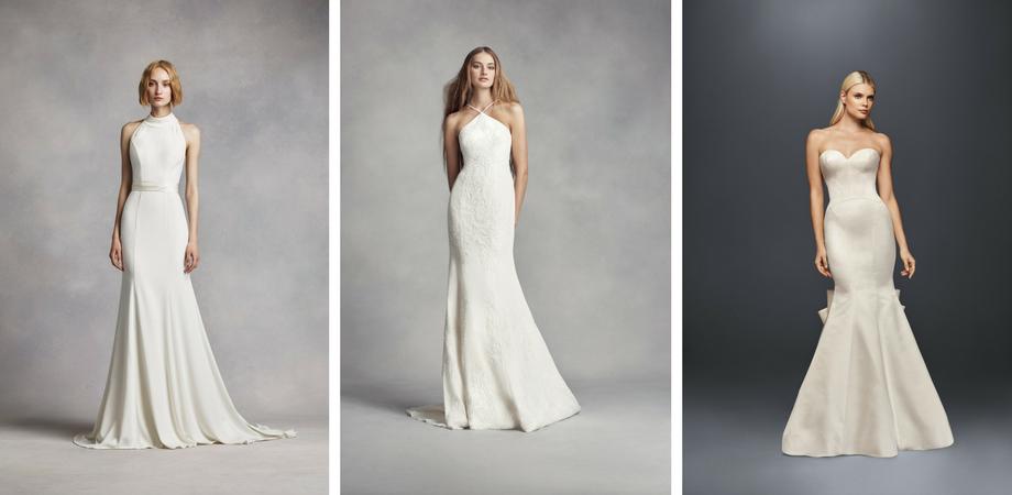 7facb0d5813d1 Dress 1: White by Vera Wang VW351263 Dress 2: White by Vera Wang VW351346  Dress 3: Truly by Zac Posen ZP341718