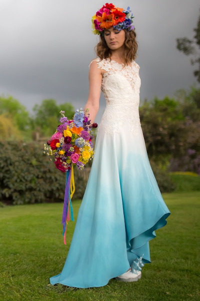 Dip dye bridal dress