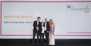 Ocasta and Virgin receiving the Gold TJ award for products Oplift and Albert