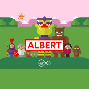 Albert and other characters standing on a Virgin Media platform with trees, mountains and a sun in the background
