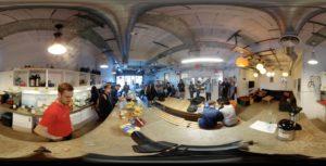 360 degree shot of Ocasta sponsoring codebar at the skiff