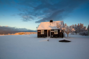 House under the snow, Árbær Open Air Museum, Iceland