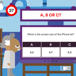 Albert with a whiteboard asking what the screen size of an iPhone 6s is. The multiple choice answers are 4.2, 4.7 and 5.3.