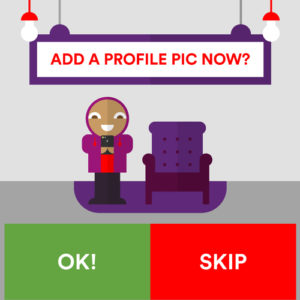 Virgin Media Albert asking the user to add a profile picture with the options OK! and SKIP