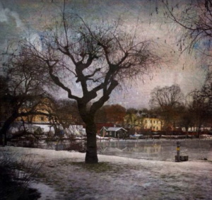 Snow covered bank by a body of water. Trees in the foreground and houses in the background filter added by Distressed FX