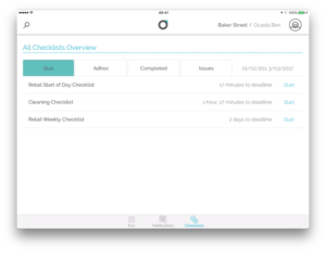 screenshot of oplift engage checklist
