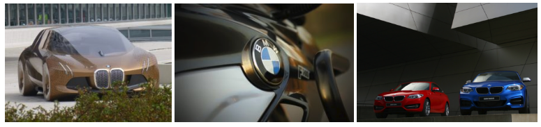 Three images. Left is a zoomed shot of a red BMW. The centre is a close up of the BMW badge. The right is two BMWs indoors.