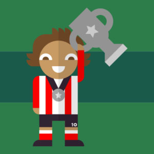 Virgin Media Albert app character wearing football attire holding a silver trophy whilst wearing a silver medal