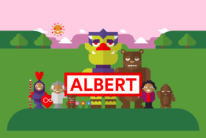 Albert and other characters standing on a platform with trees, mountains and a sun in the background